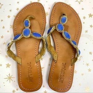Mystique   Blue Beaded Flat Sandal Flip Flop 9